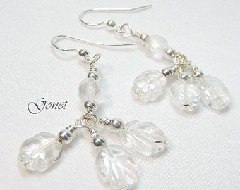 Clear Crystal Quartz (Ice Princess) Earrings by Gonet Jewelry Design