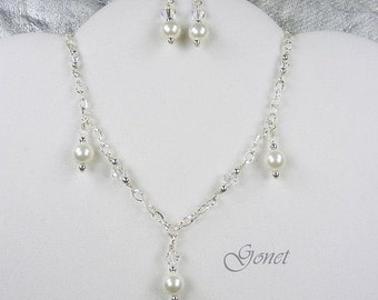 Swarovski Crystal and Pearl Wedding Set (Princess)  by Gonet Jewelry Design
