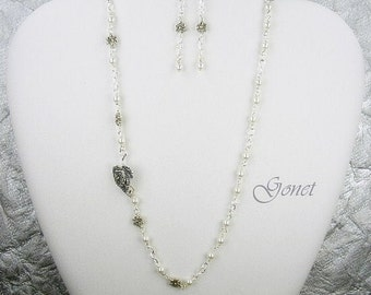 925 Sterling Silver and Pearls Wedding Set (Elegance)  by Gonet Jewelry Design