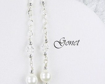 Swarovski Crystal and Pearl (Bridal Party Earrings) (Princess)  by Gonet Jewelry Design