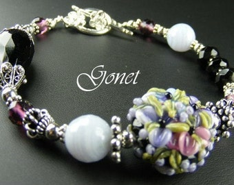 Black Onyx and Blue Lace Agate Bracelet (Romantic)  by Gonet Jewelry Design