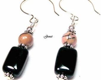 Rhodonite and Black Onyx Earrings  (Pink Stratus)   by Gonet Jewelry Design