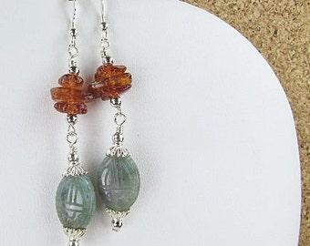 FANCY JASPER SCARAB Earrings (Nafretiri) by Gonet Jewelry Design