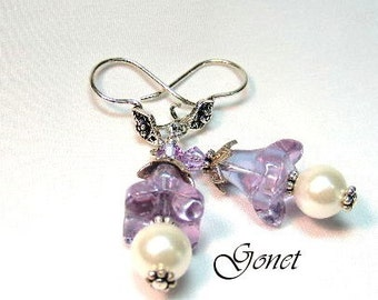South Sea Shell Pearl and Swarovski Earrings  (Violet)  by Gonet Jewelry Design