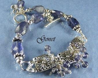 Blue Violet Iolite Bracelet (Blue-Velvet) by Gonet Jewelry Design
