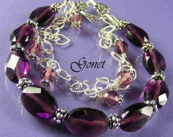 Red Fluorite Bracelet  Lavender  (Heather Collection)  by Gonet Jewelry Design