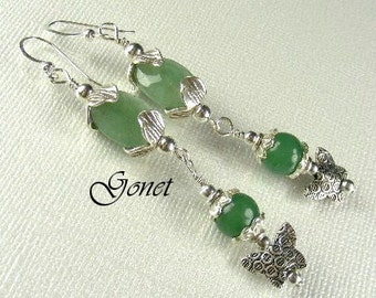 Green Aventurine Earrings  (Garden Lore)  by Gonet Jewelry Design