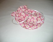 Pink and White Cotton Purse Handbag Pouch Drawstring Daisies