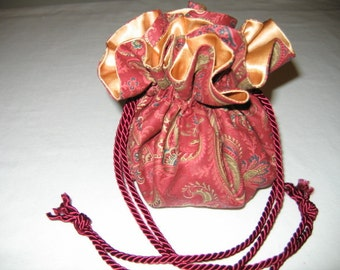 Jewelry Tote Jewelry Pouch Jewelry Organizer Jewelry Travel Red Gold Paisley Drawstring