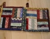 Pair of Quilted Rail Fence Potholders