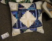 Quilted Blue Log Cabin Star Pillow Cover
