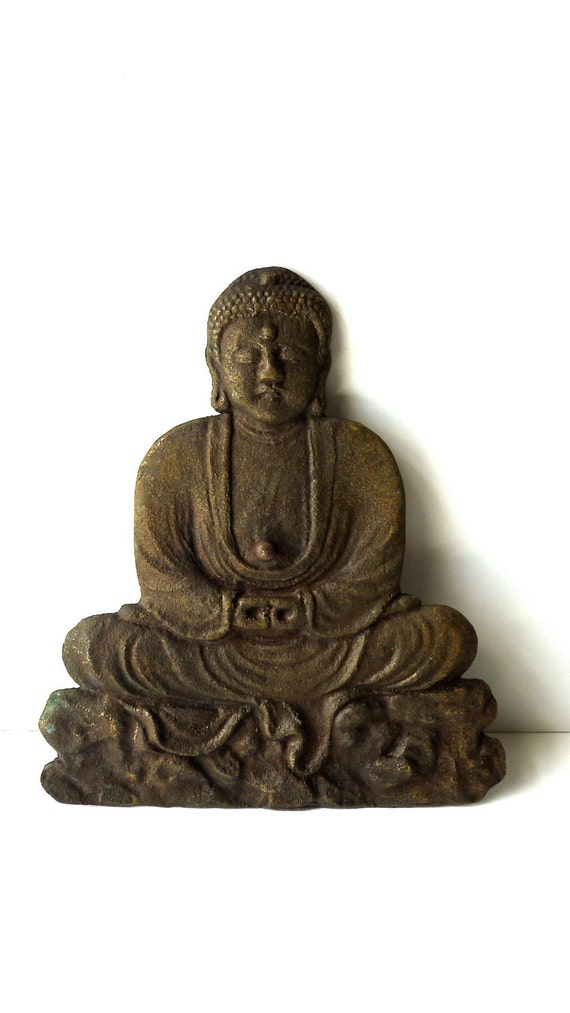 Vintage Brass Sitting Buddha Embellishment / Plaque / Cover