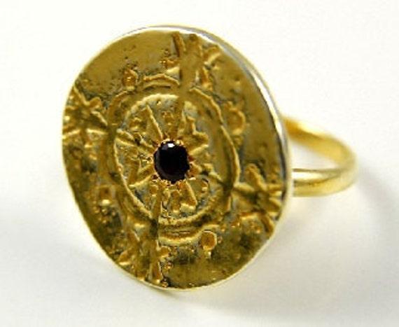 14kt gold Kalfu Voodou Disc Ring with Garnet