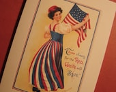Set of 3 - American Flag red, white and blue Blank note cards - Patriotic Papers