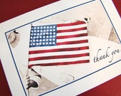 Set of 6- American flag thank you cards-   Patriotic Papers
