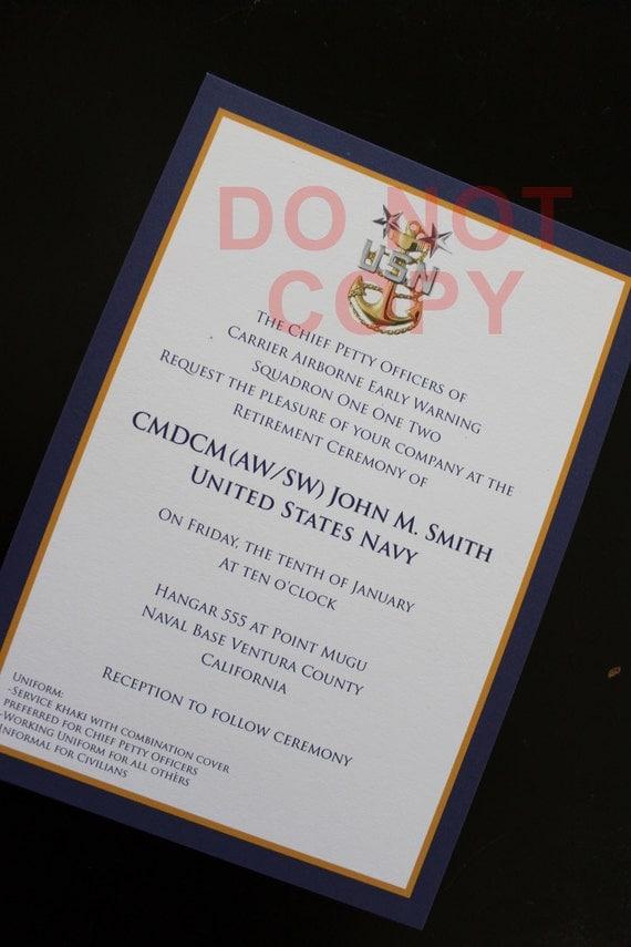 Items similar to USN Navy Master Chief MCPO -- Promotion or Retirement invitations -- Patriotic ...