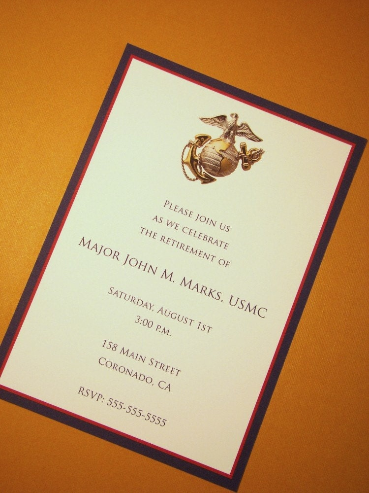 Usmc Custom Invitations Marine Corps Any Occasion