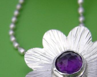 Zen Flower Blossom Amethyst Sterling Pendant