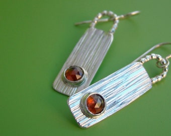 Zen Plank Garnet Sterling Earrings