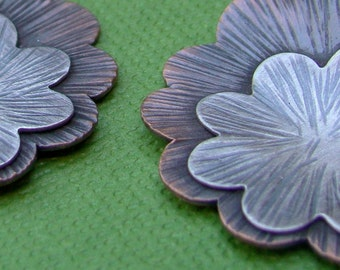 Copper and Sterling Silver Zen Flower Earrings