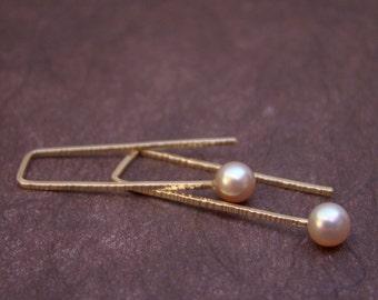 Gold Filled Zen Staple Pink Pearl Earrings Minimialist Modern Simple Wire Pastel Dainty Delicate