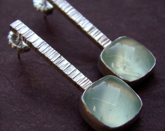 Zen Stick Prehenite Sterling Silver Earrings