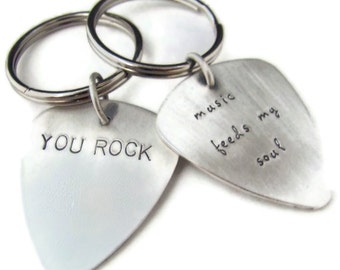 Keychain Sterling Silver Guitar Pick Custom Stamped Double Sided