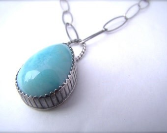 Blue Larimar Necklace Sterling Silver Teardrop Pendant Blue Gemstone Ocean