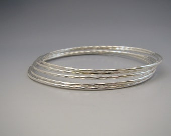 5 Sisters Sterling Silver Bangle Set Faceted Sparkly Texture