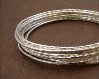10 Sisters Sterling Silver Bangle Set Faceted Sparkly Texture