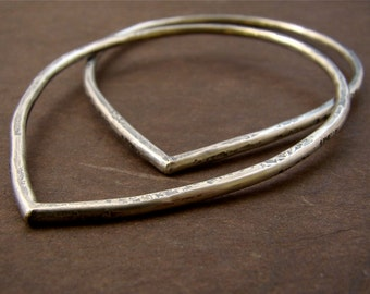 Urban Rustic Lotus Petal Silver Forged Bangle Duo Set Sterling Silver Solid Hammered Bracelets