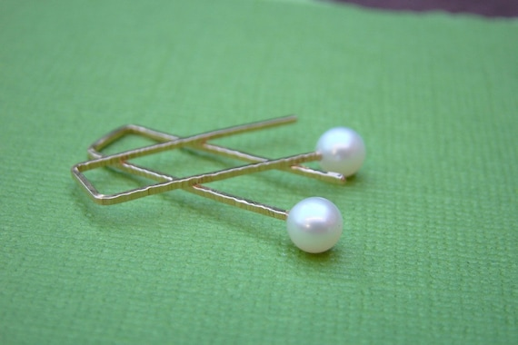 Gold Filled Zen Staple White Pearl Earrings Round Rectangle Modern Hammered Simple Minimalist Wires