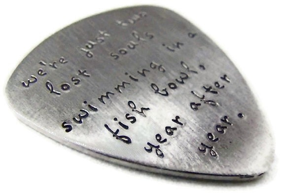 Guitar Pick Sterling Silver Custom Stamped Lower Case Font Single or Double Sided Personalized