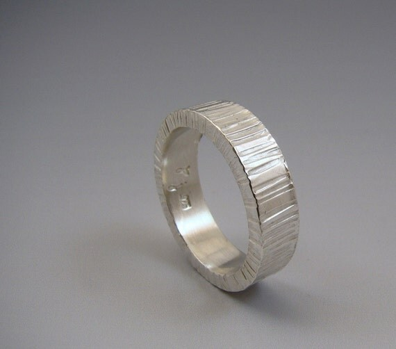 Sterling Silver Wedding Band Zen Band Textured Lines Chiseled Ring