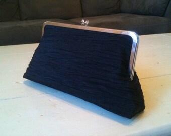 clutch purse with metal frame - brynn in black crunch taffeta