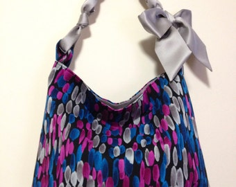 hobo tote bag in stonestreet oval print poly fabric - angie mini