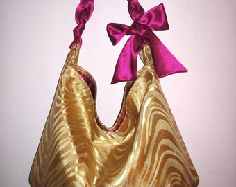 READY to SHIP and on sale  -LARGE  hobo tote in gold brocade with wavy design with raspberry satin lining and handle