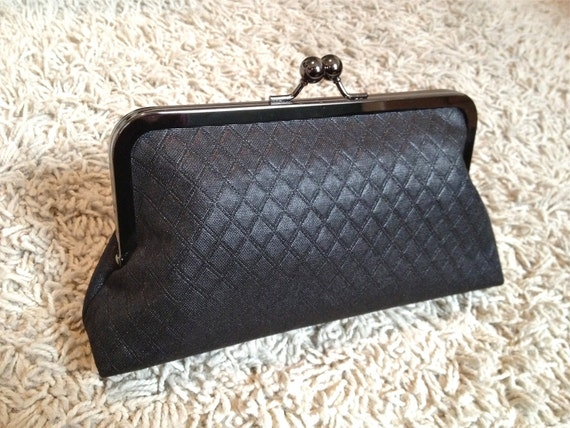 clutch purse with metal frame - brynn in black quilted