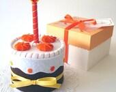 Felt orange (or pumpkin) and chocolate birthday cake (pretend play food)