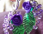 Fit for Faeries - Purple roses and blueberries with absinthe green leaf, silver earring