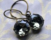 Black Diamond - round Vintage glass jewels set in vintage brass, handforged brass earwires dangle earrings - Timeless