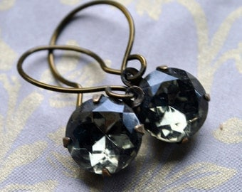 Black Diamond - round Vintage glass jewels set in vintage brass, handforged brass earwires dangle earrings - Timeless
