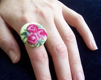 Unique adjustable ring with large vintage embroided button - non allergic silver metal