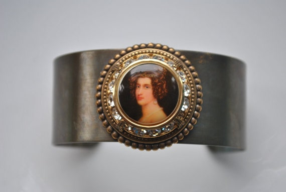 Madame De Pompadour antiqued brass cuff bracelet, adjustable, with vintage porcelain cabochon