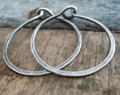 1 inch Sterling Silver Hoops - Handmade. Handforged. Oxidized and Polished