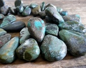 NEW Earthy Natural Old Turquoise Briolettes - Average 11-23mm, 1/2 strand