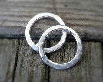 Pair of my Handforged, hammered Sterling Silver Loops - Handmade. Hand forged. 10mm.