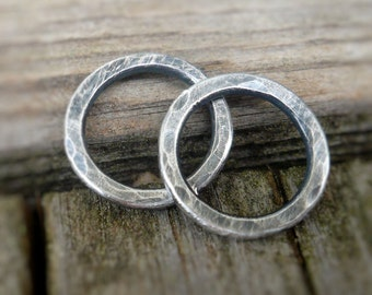Pair of my Handforged, hammered Sterling Silver Loops -10mm. Handmade. Hand forged. Oxidized and Polished. Made to Order