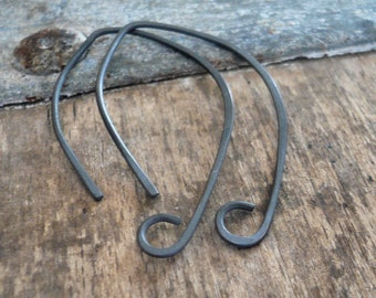 Pair of my Hint Sterling Silver Earwires - Handmade. Handforged. Heavily Oxidized