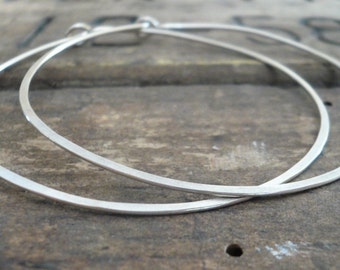 2 inch Sterling Silver Hoops - Handmade. Handforged